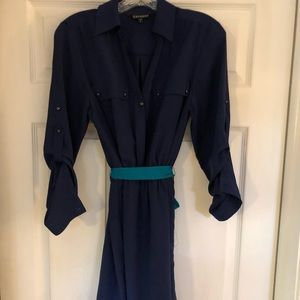 Express navy button down dress